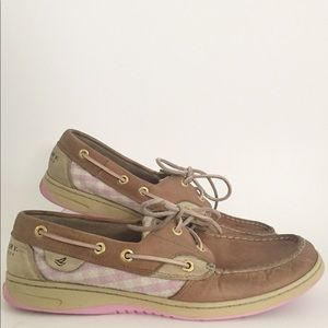 Sperry Top Sider Shoes Pink White Sequins 9.5M